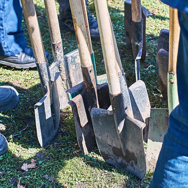 group of shovels from a Columbus landscape company