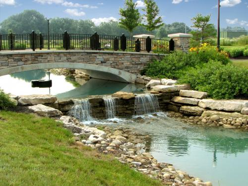 Commercial Landscaping and Architecture bridge and water