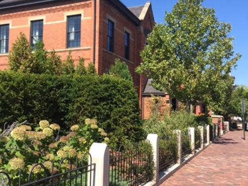 streetscape with brick walk and landscaping by landscape architect